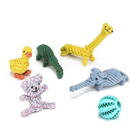 Aleko Dog Rope Animal Toys With Rubber Ball 6 Pack Multicolor