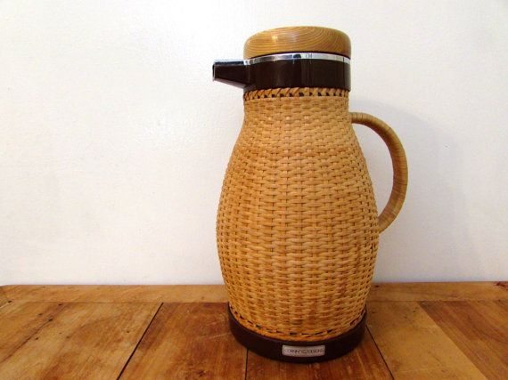 Vintage Corning Designs Wicker Coffee Thermos Coffee