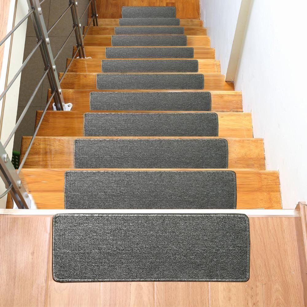 Stair Tread Carpet Mat Set Of 13 Non Slip Indore Outdoor Anti Skid   Indoor Outdoor Carpet For Stairs   Grey   Electric Blue   Wall   Carpet Runner   Trim