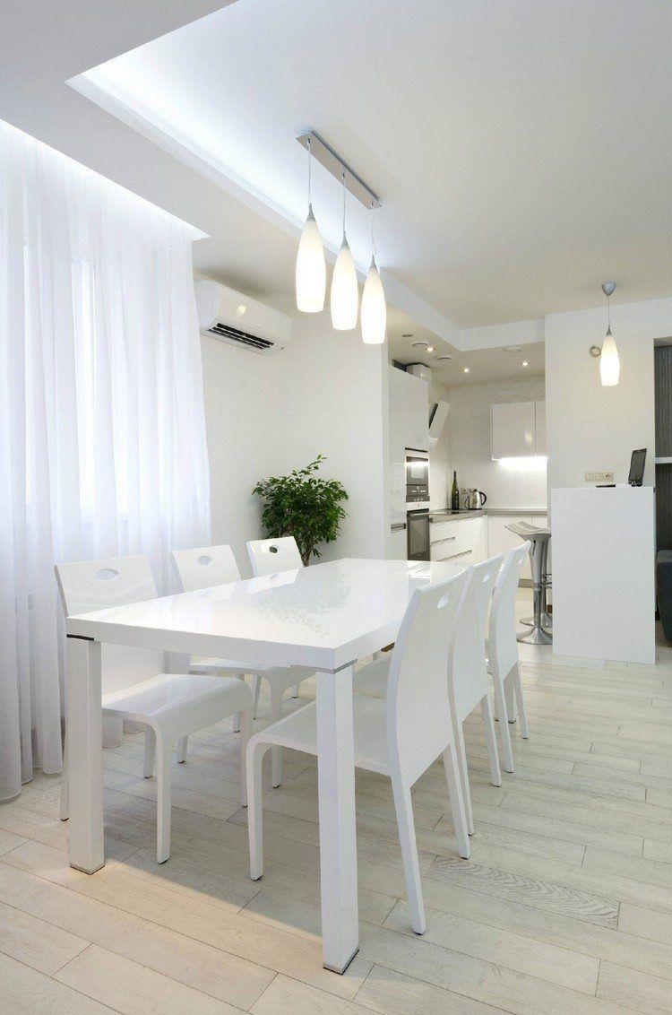 cuisine et salle a manger 2 en 1 avec un faux plafond et eclairage indirect led