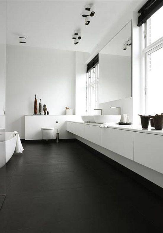 Zwart witte badkamer - Badkamer | Pinterest - Badkamer, Zwart en ...