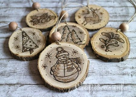 Wood Crafts For Christmas Wood Burned Christmas Ornaments From Wooden Branch Slices