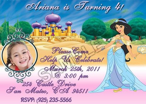 Download Now Princess Jasmine Birthday Party Invitation Ideas