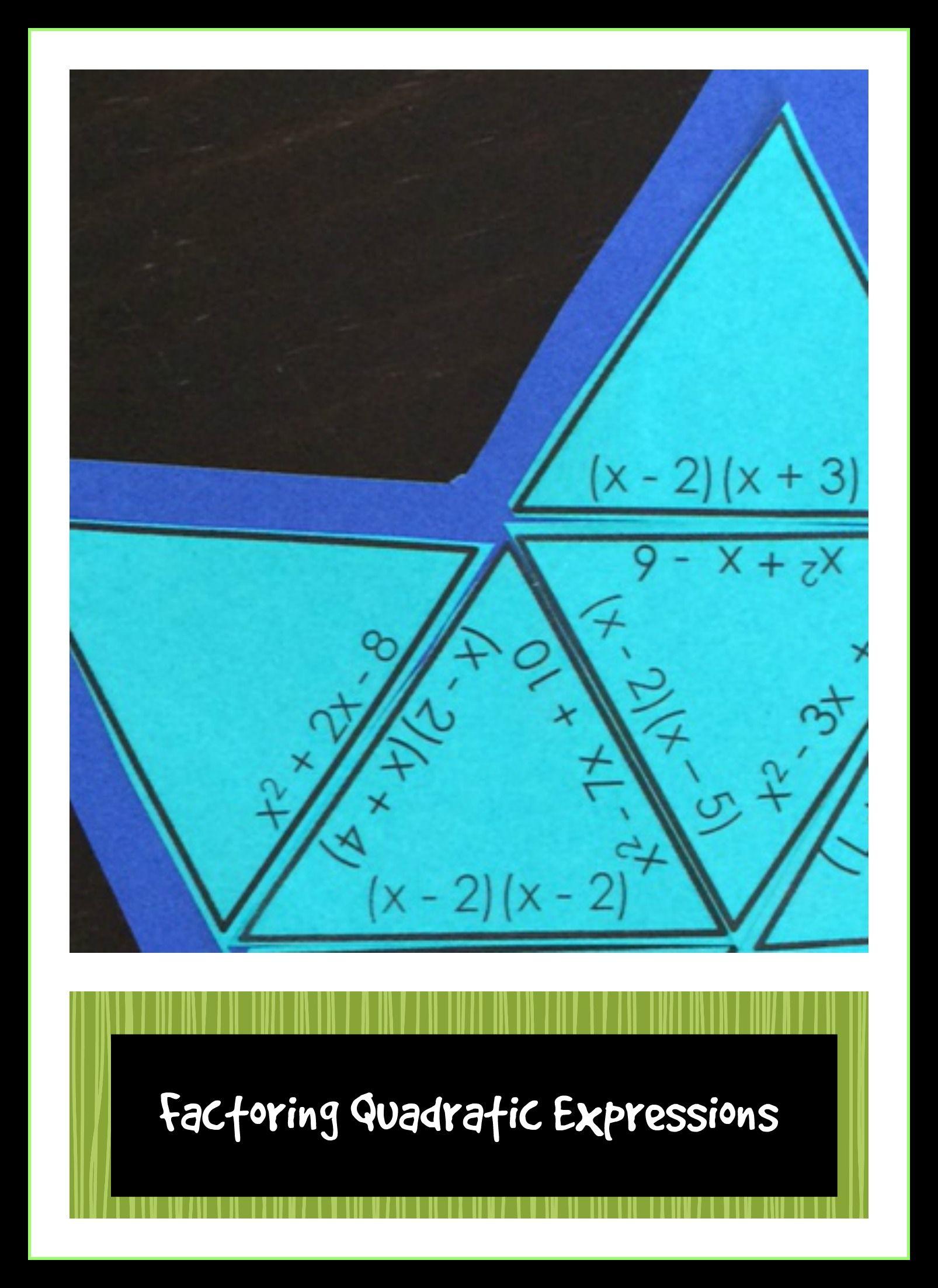 Quadratic expressions - Factor Quadratic Expressions Puzzle Activity ...