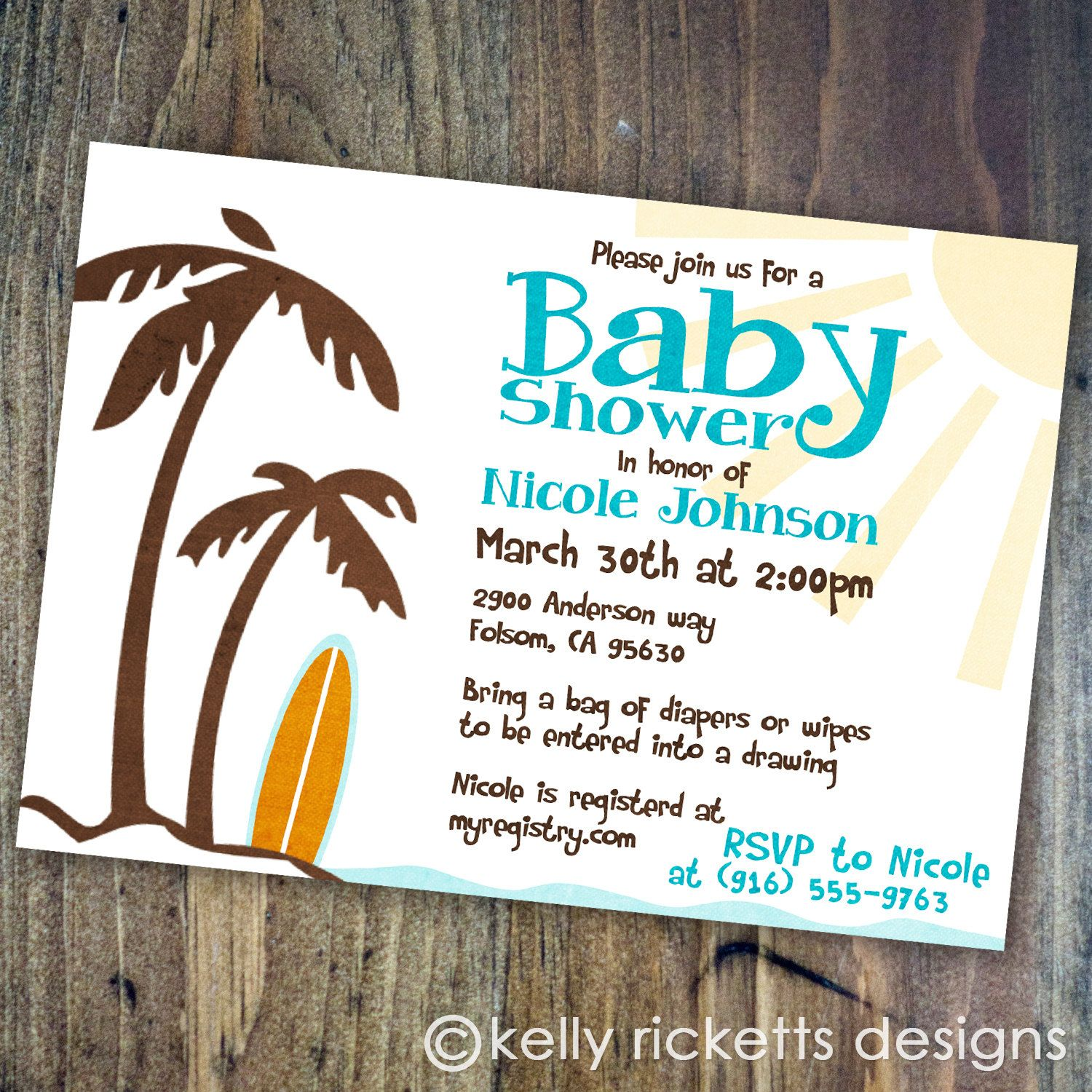Beach Baby - Surfing - Shower Invitations - Digital Printable File ...