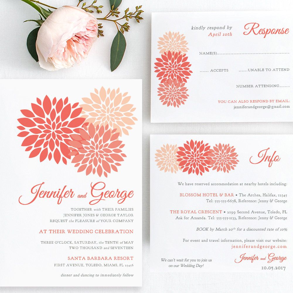 Coral wedding Invitation template printable, coral invitation set ...
