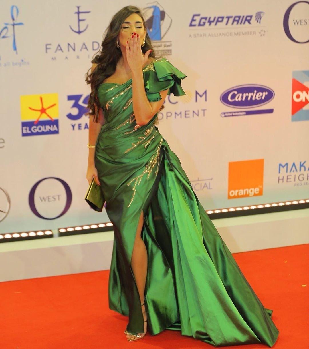 Yasmin Sabry In Green Dress From El Gouna Film Festival Opening Cermony Red Carpet 2019 Formal Dresses Long Instagram Fashion Green Dress