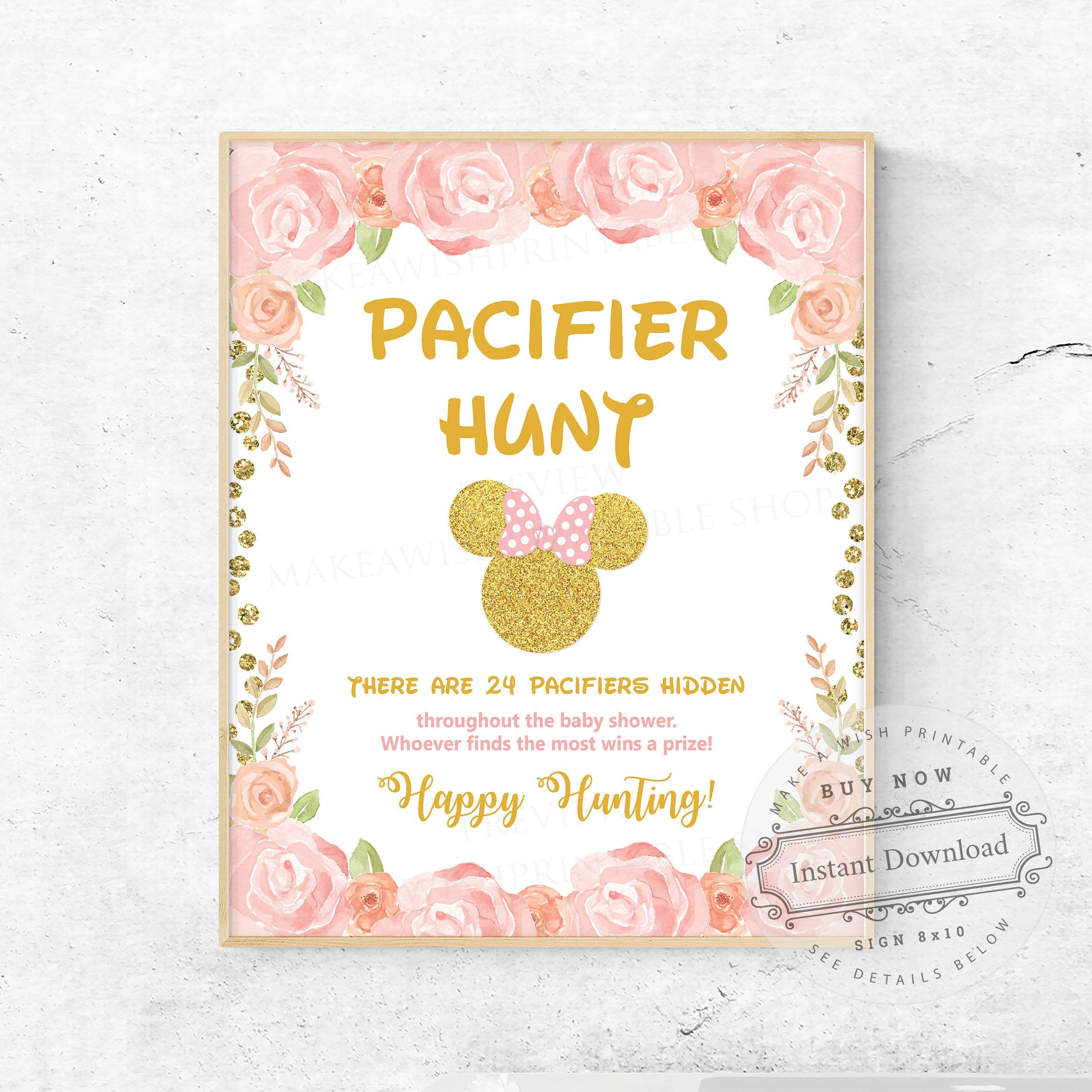 Blush Pink Gold Minnie Mouse Baby Shower Games, Pacifier Hunt Game, Printable Baby Shower Games, Pacifier Hunt Sign, Instant Download US261
