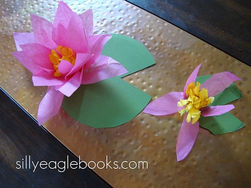 Water lillies from tissue paper - so cute! Maybe couple with a flower theme one week.