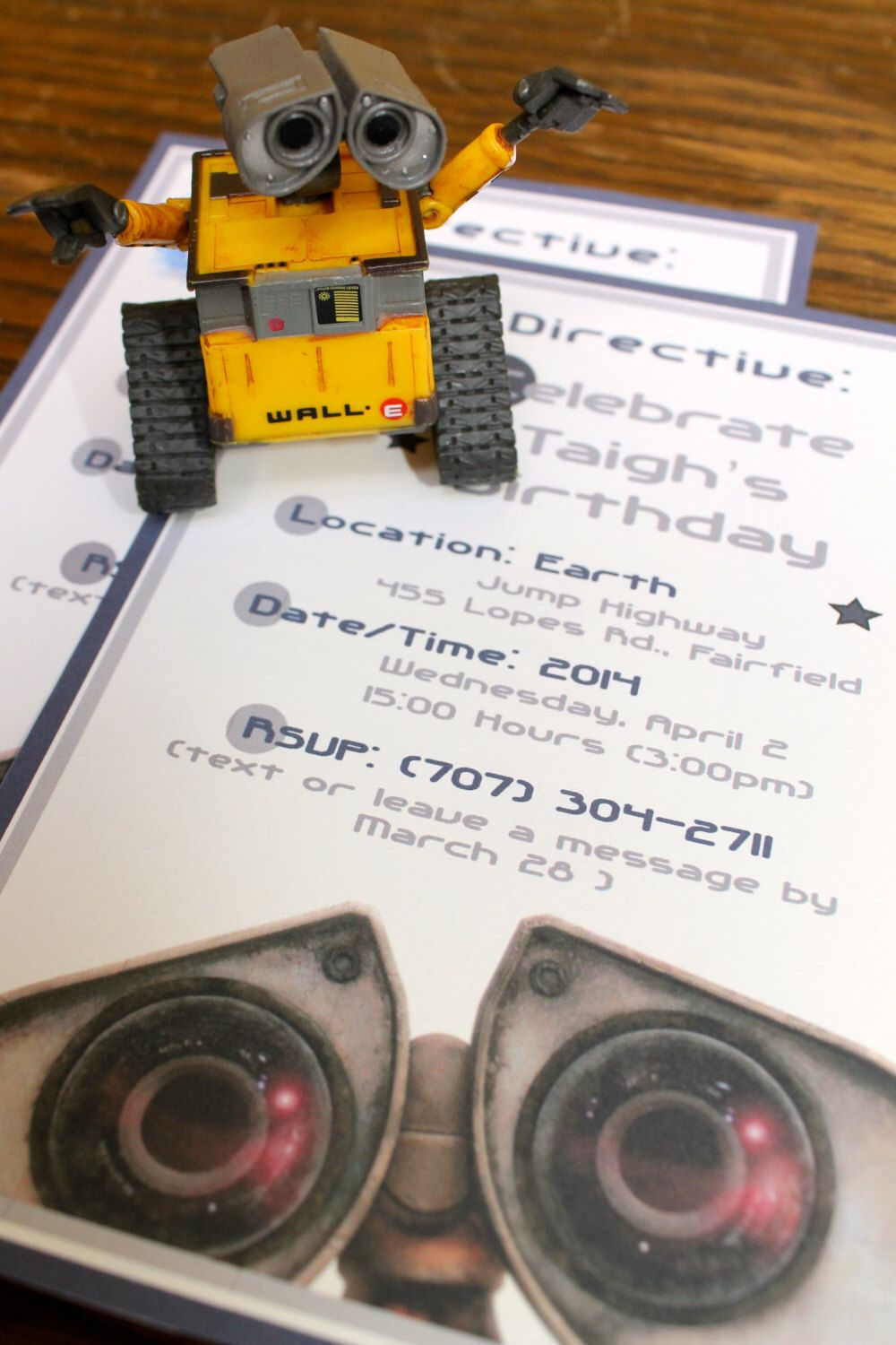 WallE Birthday Party Invitations CustomMade by PaperAndTaigh – E Invites Birthday Party