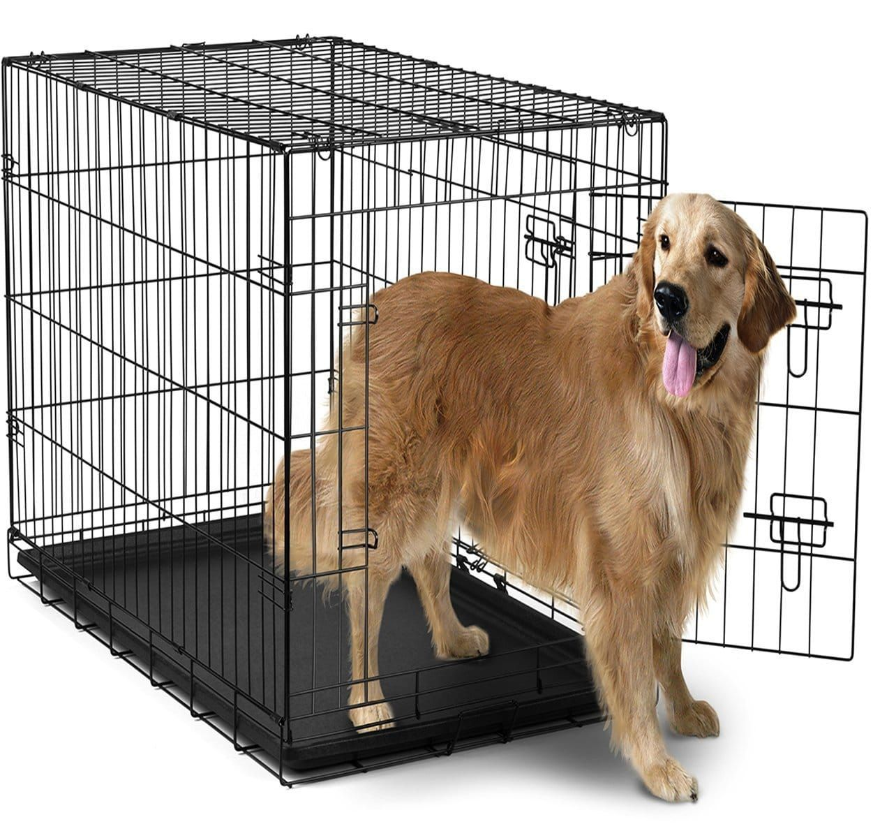 Oxgord 42 Inches Dog Crate With Divider Double Doors Folding Pet