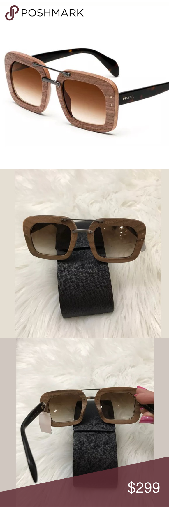 a5a1b4e18a8 Prada Wood Frame Sunglasses Style 0PR-30RSF 100% Authentic. Please see all  photos