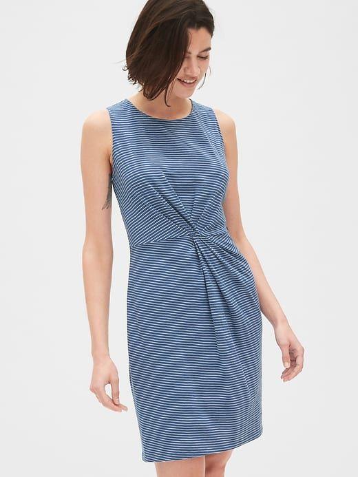 8834b5dd39322 Gap Women's Sleeveless Twist-Front Dress In Slub Jersey Blue Stripe