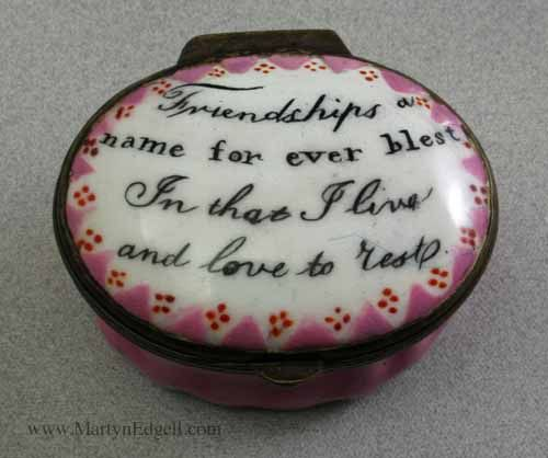 Staffordshire Enamel Patch Box Pink Circa 1790 With An