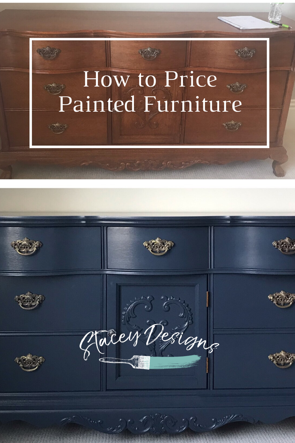 Download my free guide to help you determine what to charge for painted furniture. #staceydesigns #staceyvangundy #paintedfurniture #furnitureflip #furnitureartist #homedecor #upcycledfurniture