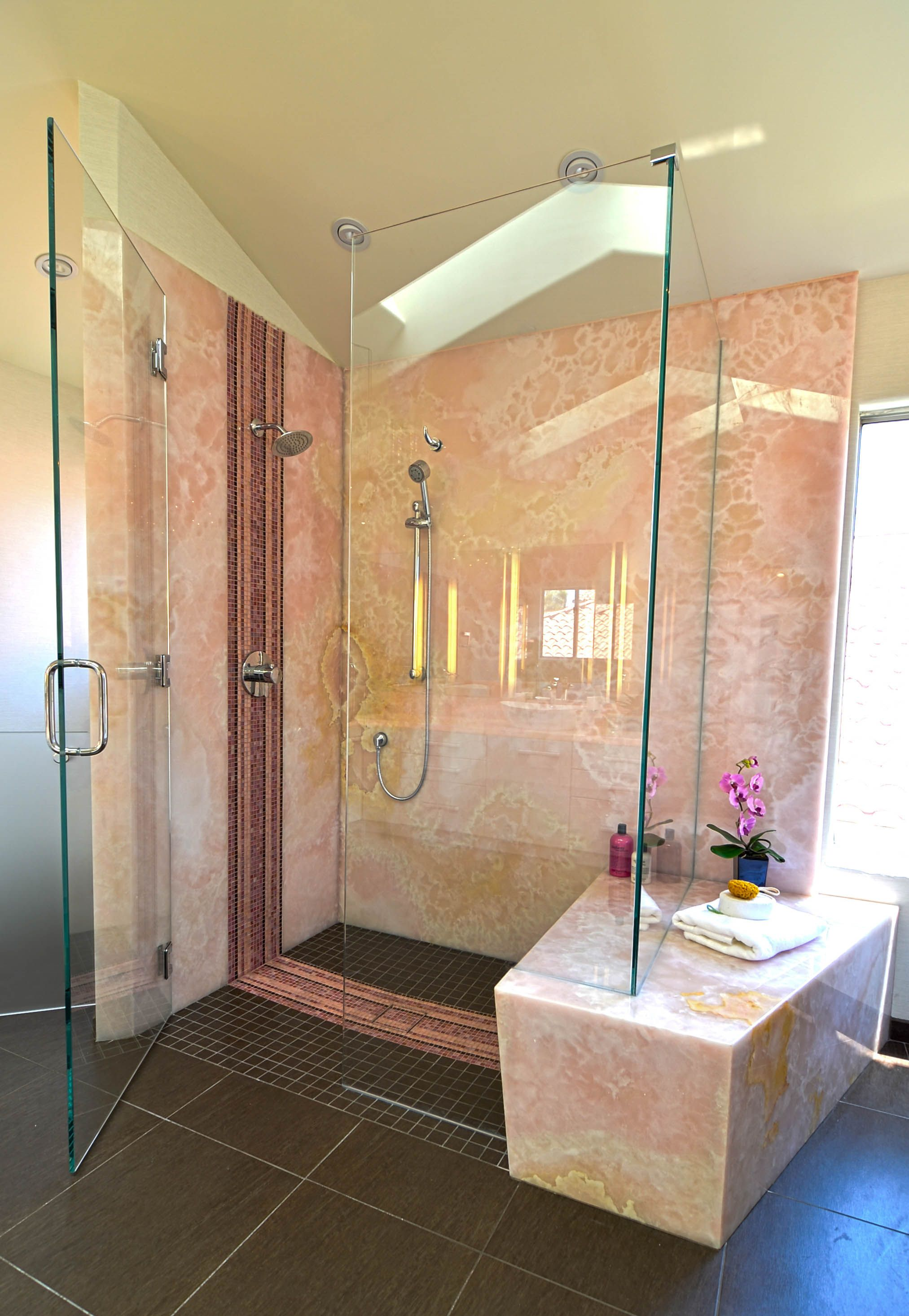 This Client Global Lifestyle And Cultural Background Was Influential In Guiding Our Material Sele Frameless Shower Doors Install Glass Shower Door Shower Doors