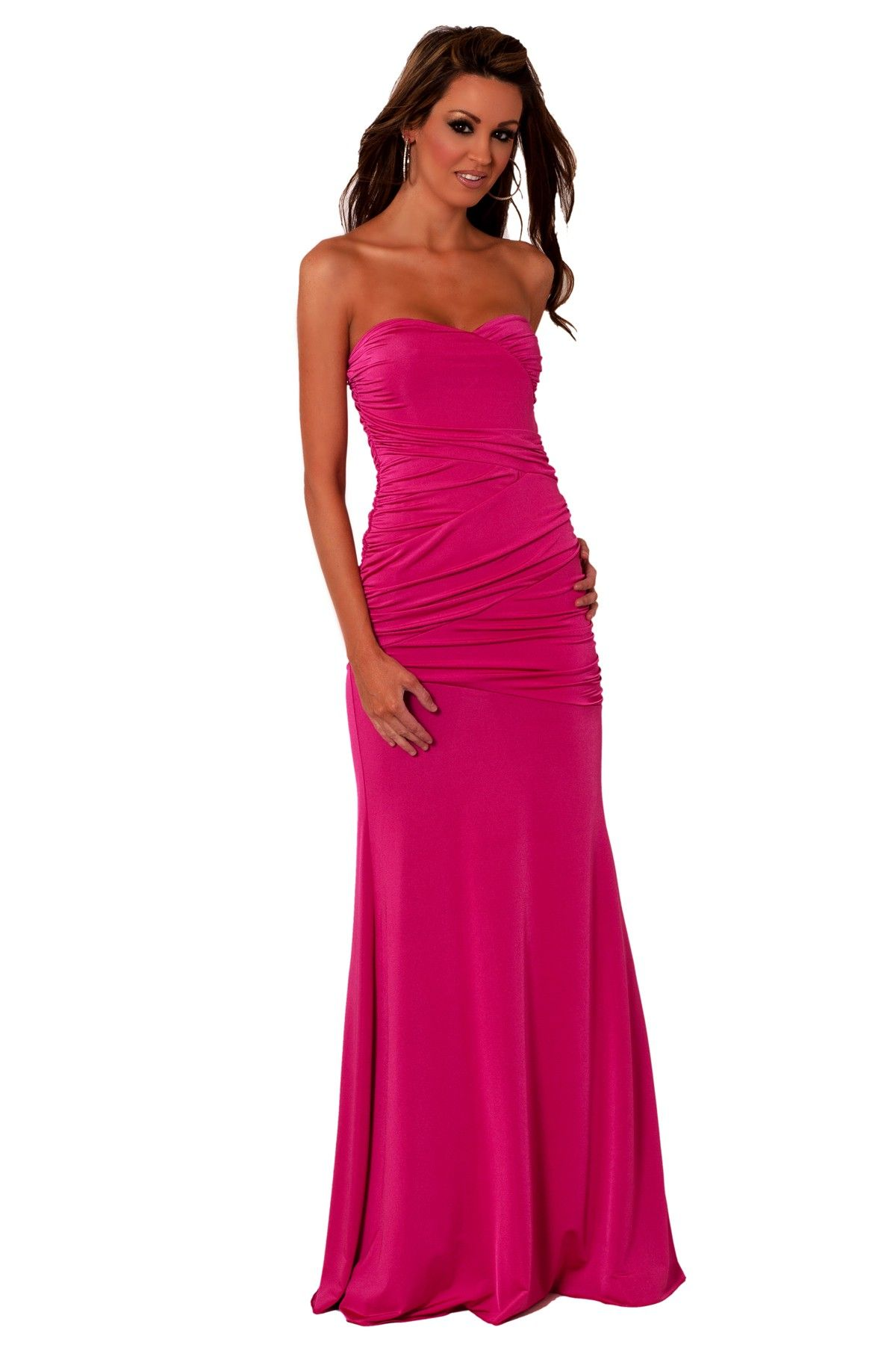 Hot pink maxi dress  Hot pink strapless maxi dress with ruching I love the shape of this