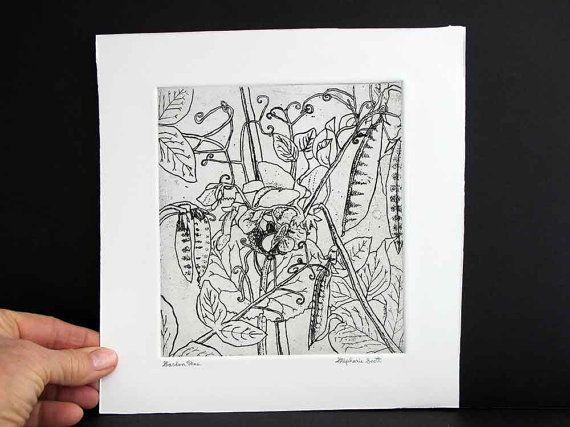 Garden Peas  Hand Printed Black & White by StephanieScottArtist, $32.00