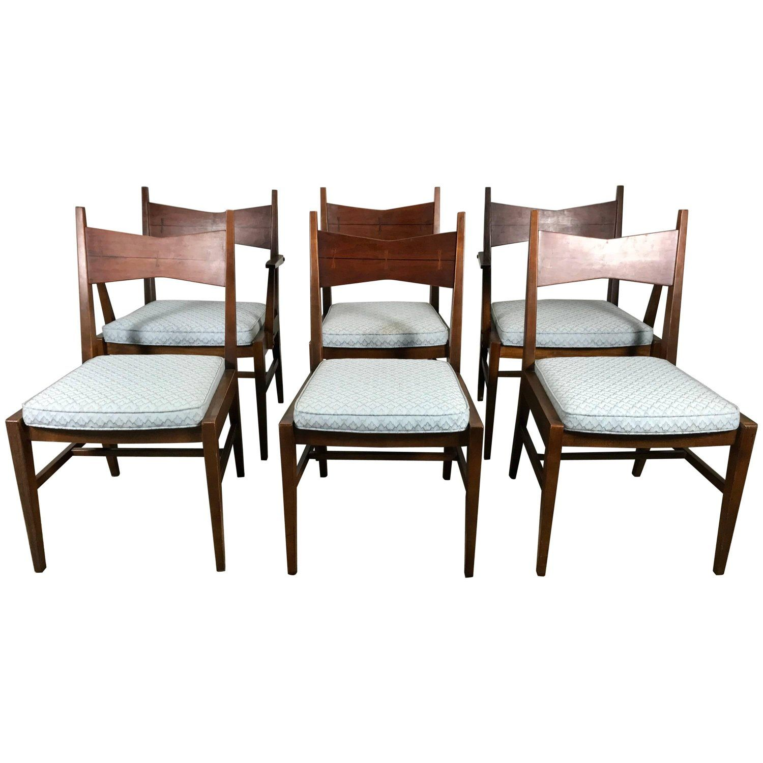 Set Of Six Mid-Century Modern Dining Chairs, Lane Tuxedo