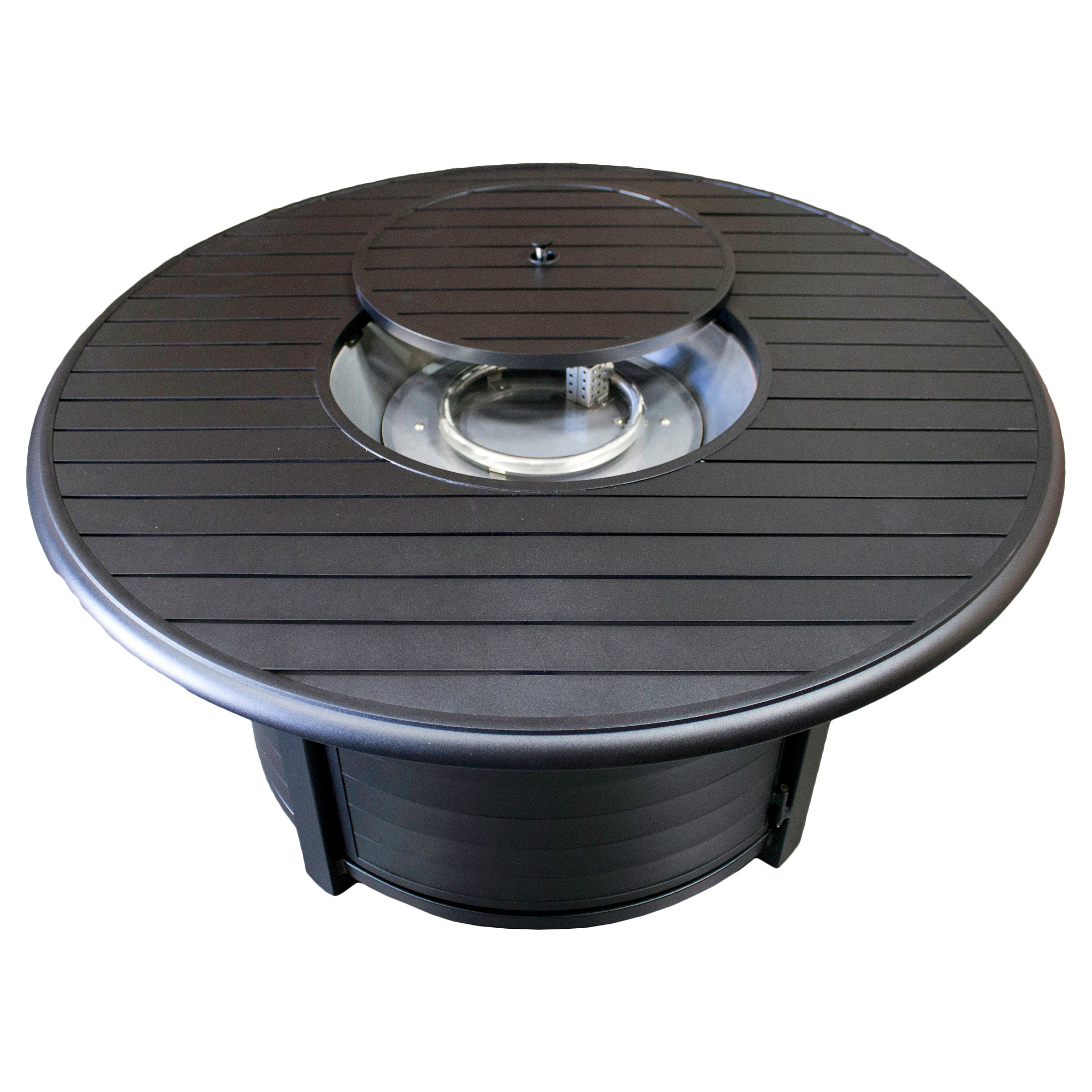 az patio heaters round aluminum propane fire pit matte black