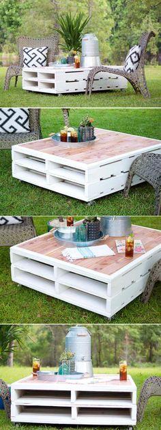 DIY Pallet Coffee Table Gets an Outdoor Makeover Centro, Mesas y