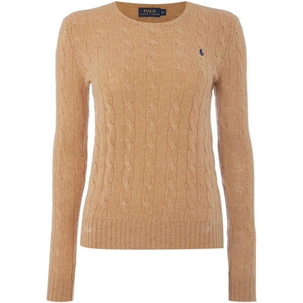 Polo Ralph Lauren Julianna cable wool crew neck jumper (€140) found on  Polyvore featuring women's fashion, tops, sweaters, beige, women,  cable-knit sweater, ...