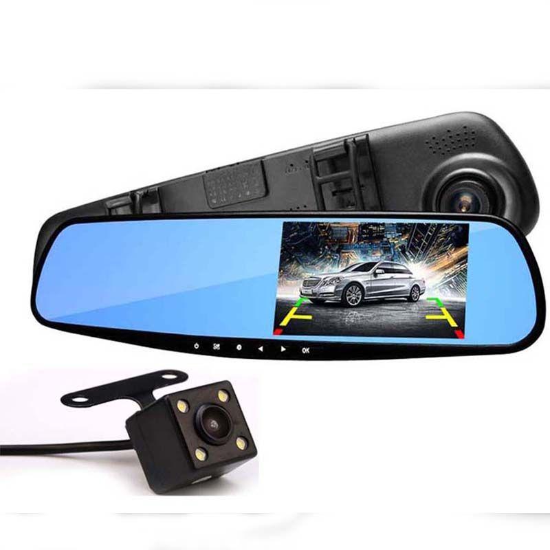 Full HD 1080 P Macchina Fotografica Dell'automobile Dvr Auto 4.3 Pollice Retrovisore specchio Digital Video Recorder Dual Lens Dash Cam Videocamera Notte visione