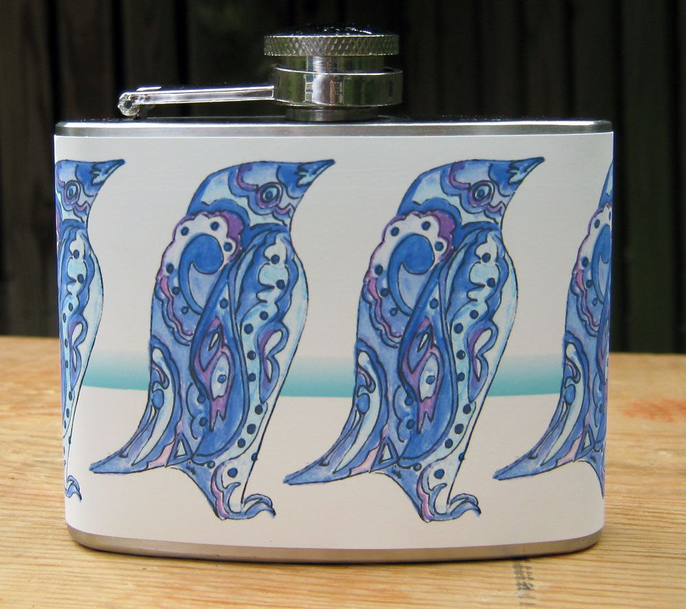 Blue Paisley Penguin 4 oz. Stainless Steel Flask