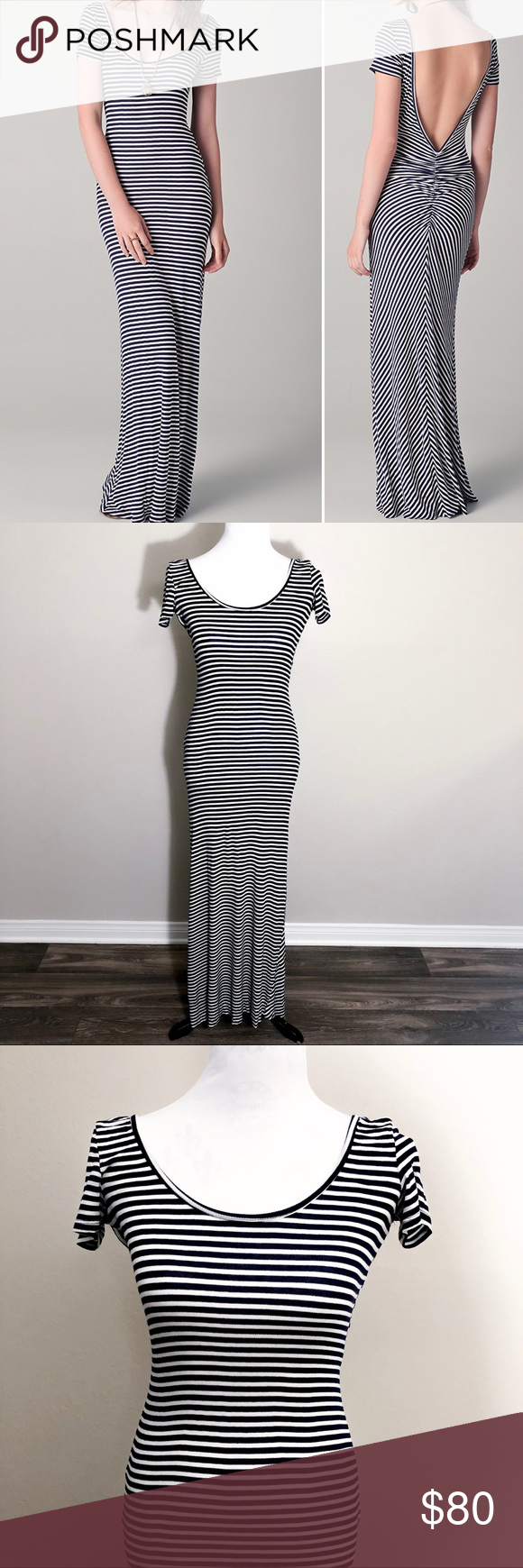 "Rachel Pally Quentin Dress in Navy Stripe Scoop Neck Jersey Maxi Deep V and Ruching Back Ribbed Banding at Neckline Semi Sheer  Condition: Used. No Visual Defects. Measurements are approx. and of item laying flat. Length: 57"" #078 Rachel Pally Dresses Maxi"