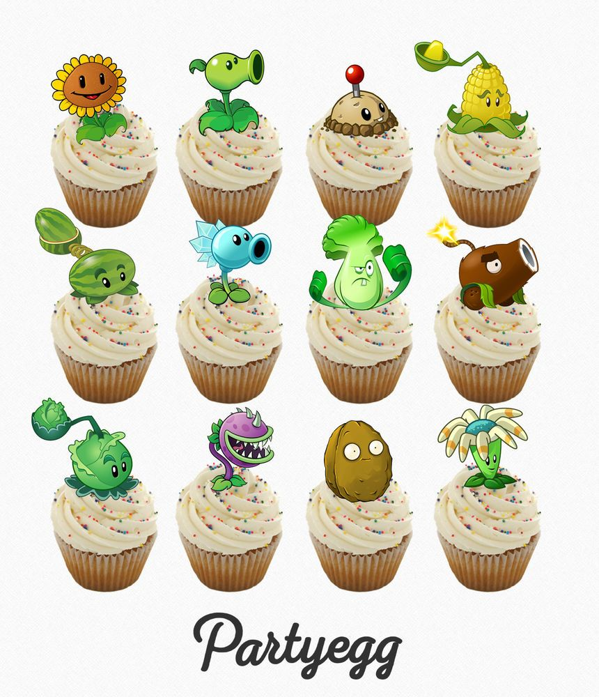 24 x Plants vs Zombies PLANTS ❤ STAND UP ❤ Cup Cake Toppers Edible Rice Wafer