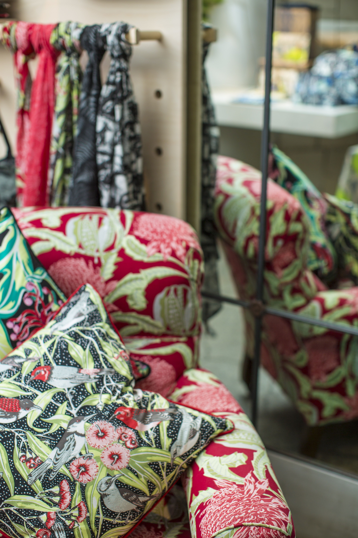 Utopia Goods, State of Waratah red fabric and flowering