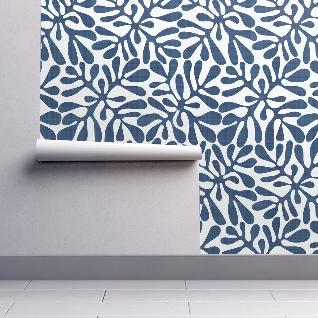 Navy And White Block Print With Linen Spoonflower Linen Wallpaper Block Print Navy And White