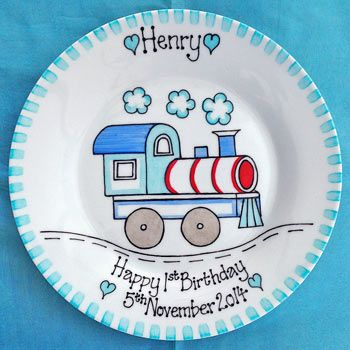 Personalised baby gift plate train ceramic painting personalised baby gift plate train negle Gallery