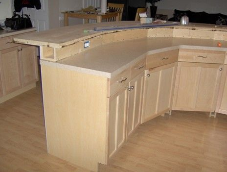 Construction Detail 2 Tier Kitchen Island With Electrical In Bump Up Kitchen Island Plans Curved Kitchen Island Curved Kitchen