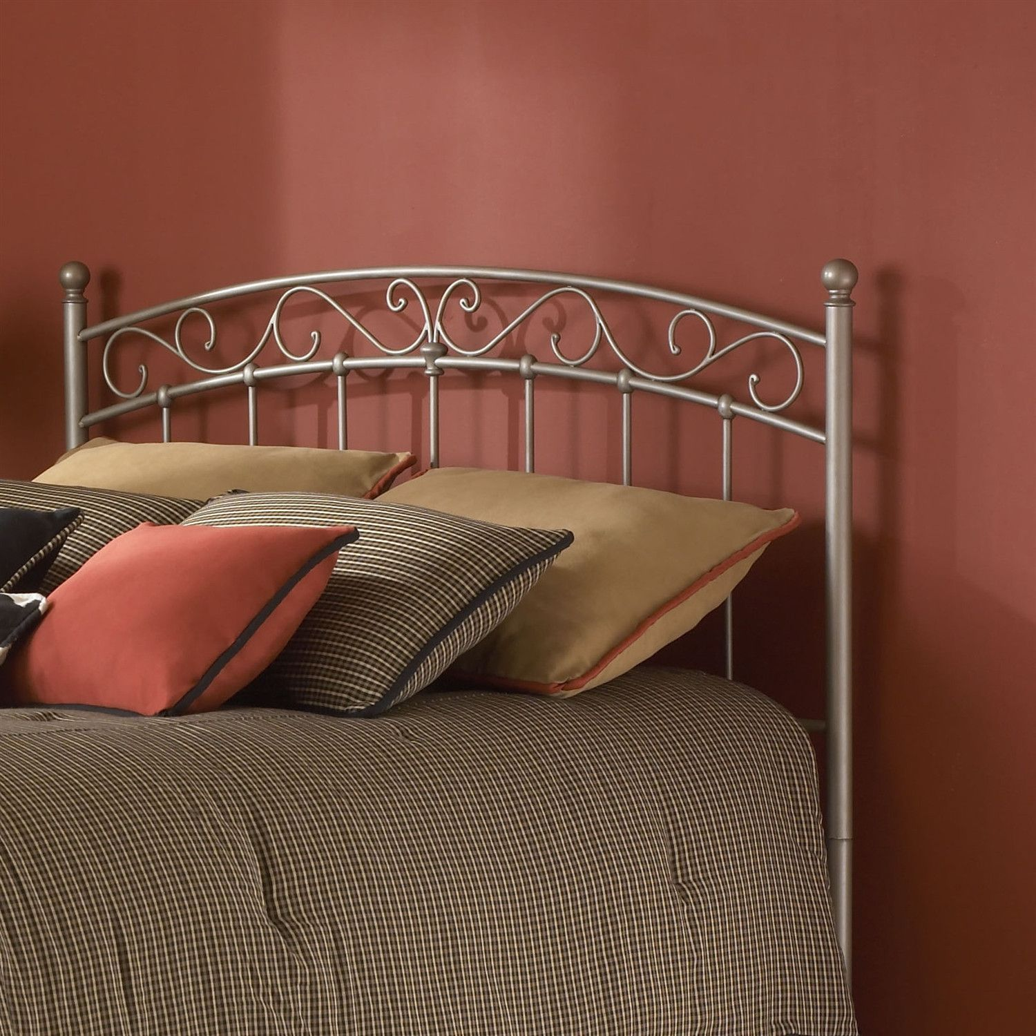Queen size Arched Metal Headboard with SShaped Details