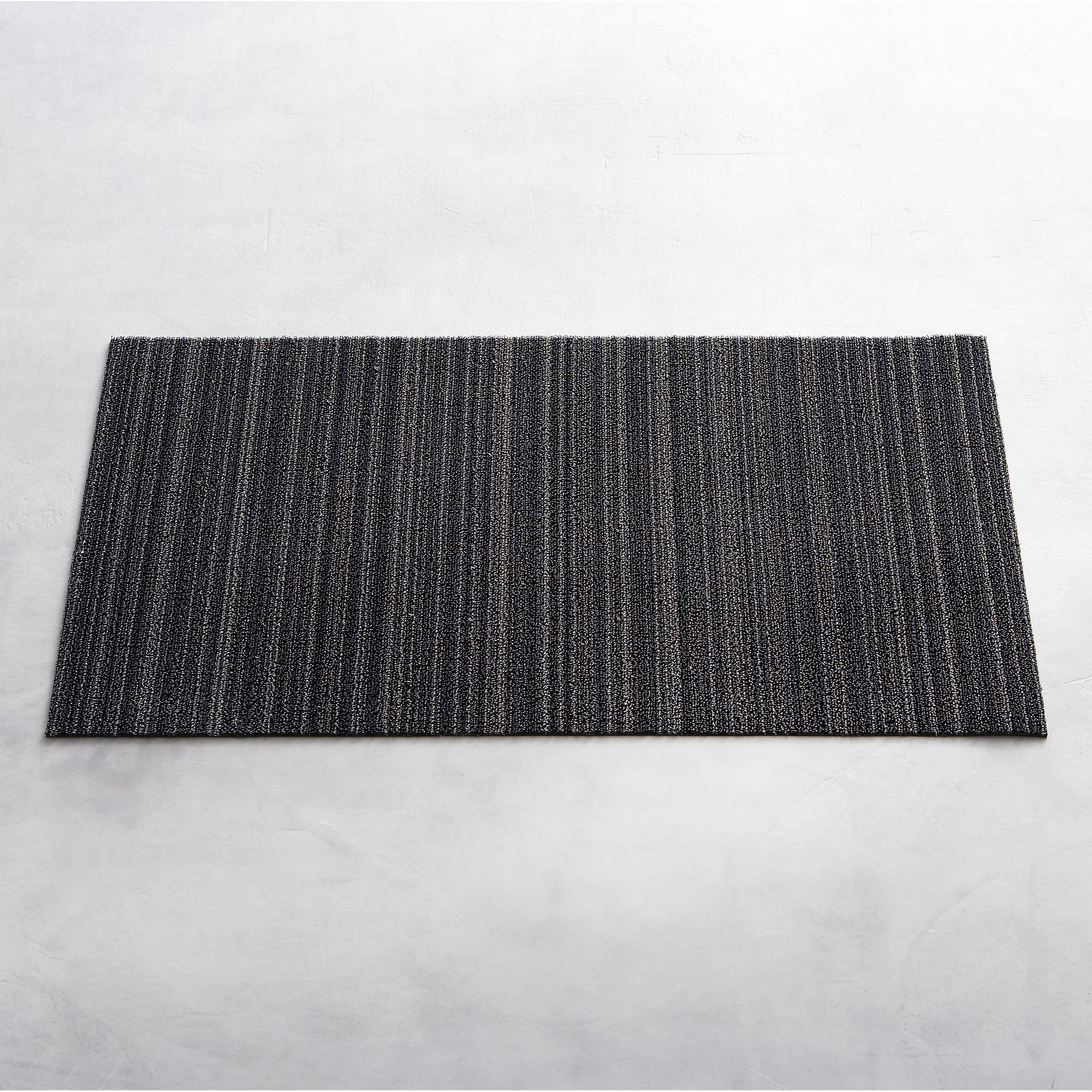 Chilewich Silver Black Striped 20 X36 Doormat Crate Barrel Crates Entry Rug