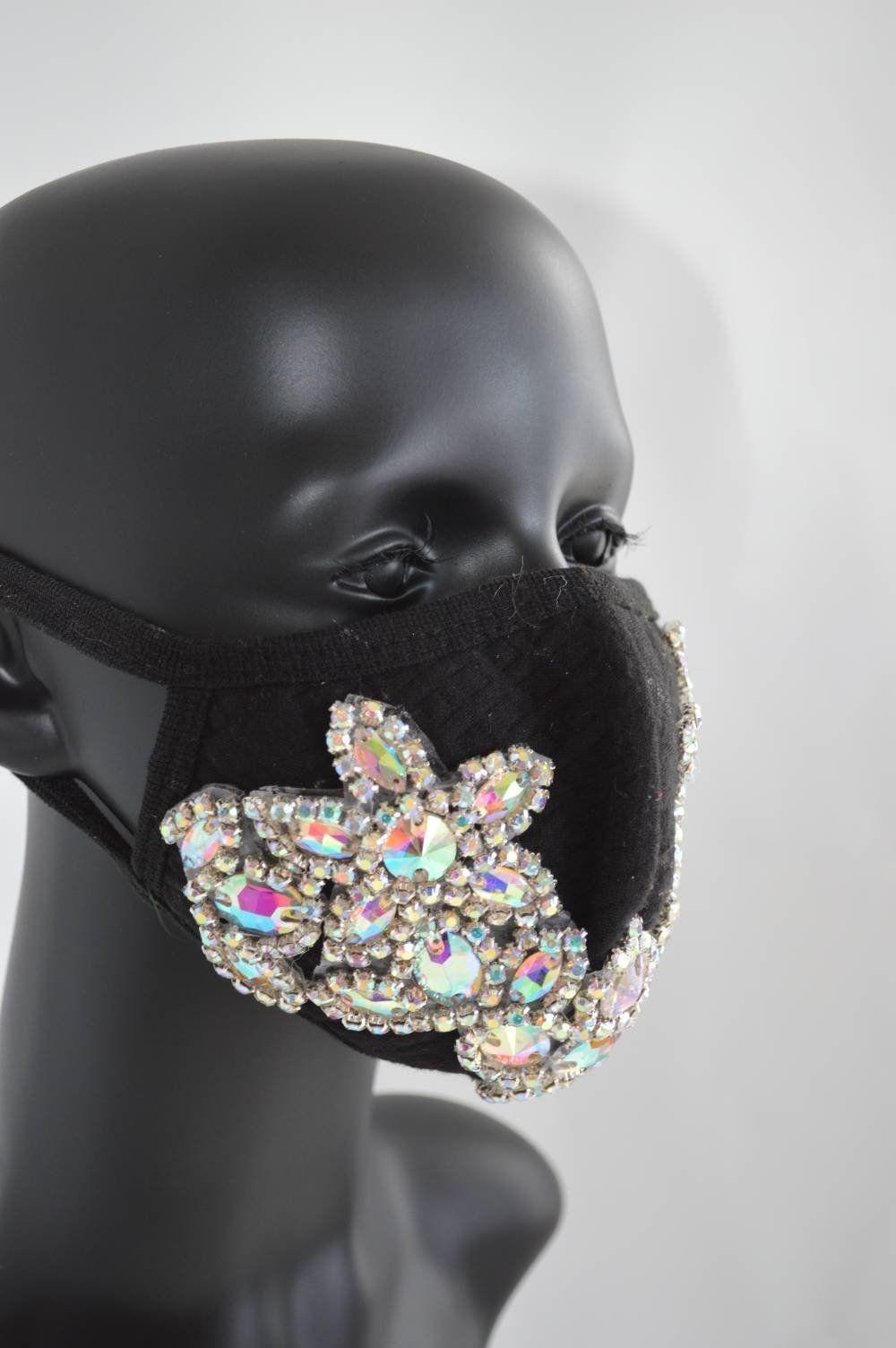 Rhinestone Rave mask Burning Man costumes Dust Mask