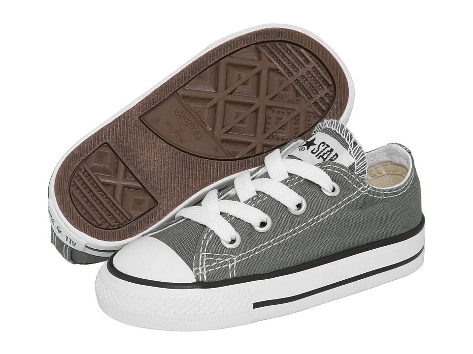 2318be94fca9 Converse Kids Chuck Taylor All Star Core Ox (Infant Toddler) (Charcoal)  Kids Shoes