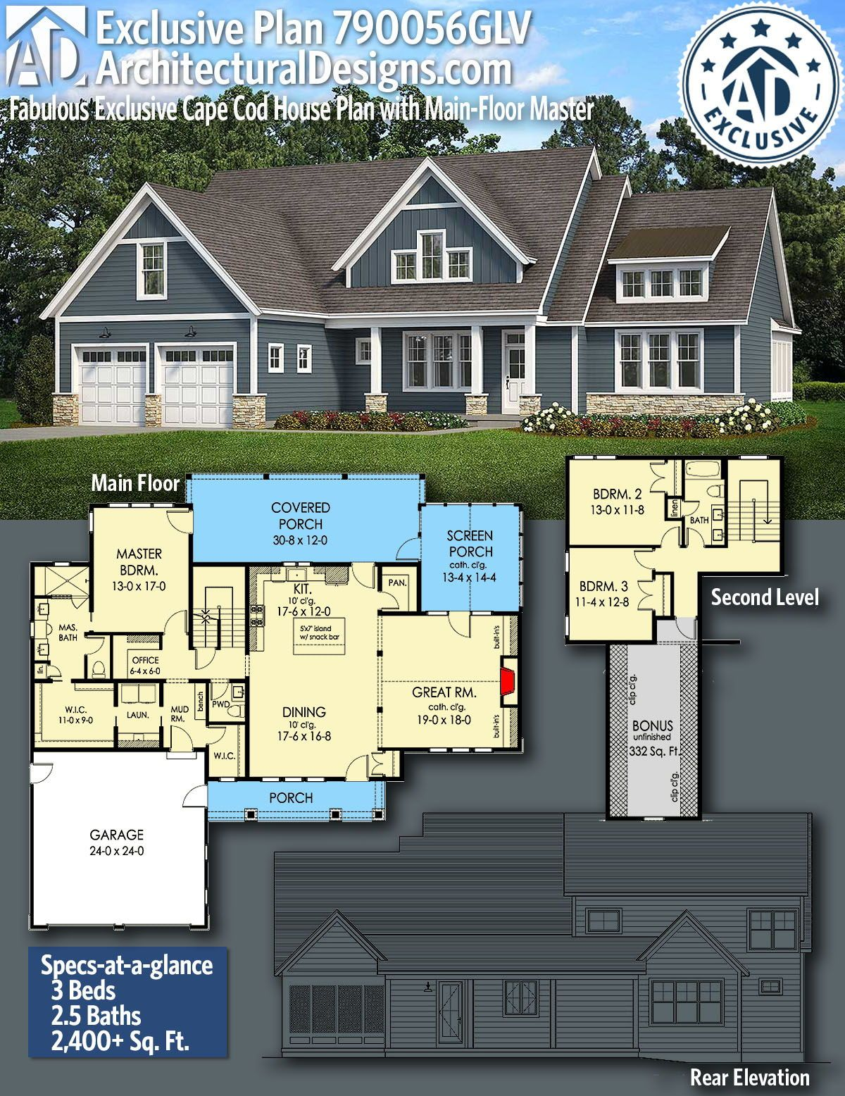 Plan 790056glv Fabulous Exclusive Cape Cod House Plan With Main Floor Master In 2021 House Plans Two Story House Plans House Floor Plans