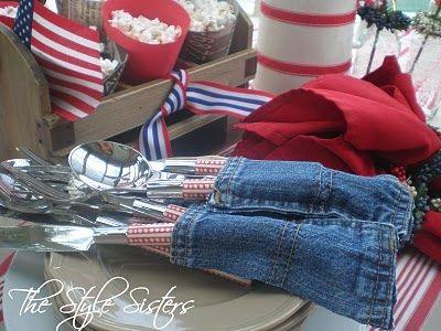 4th of july denim table decor, seasonal holiday d cor
