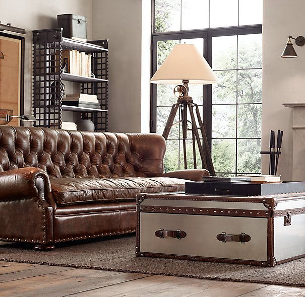 Churchill Leather Sofa In Vintage Cigar Leather From Restoration Hardware
