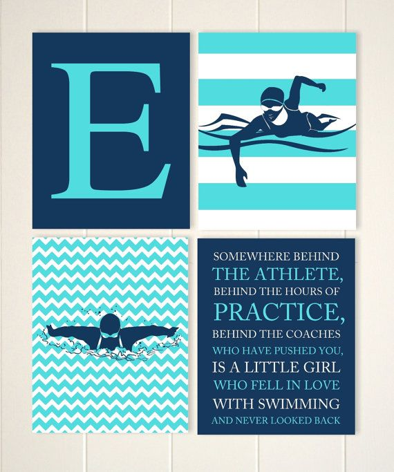 Swimming Monogram Art Girls Gift Idea Girls Wall Art Etsy Monogram Art Girls Wall Art Swimming
