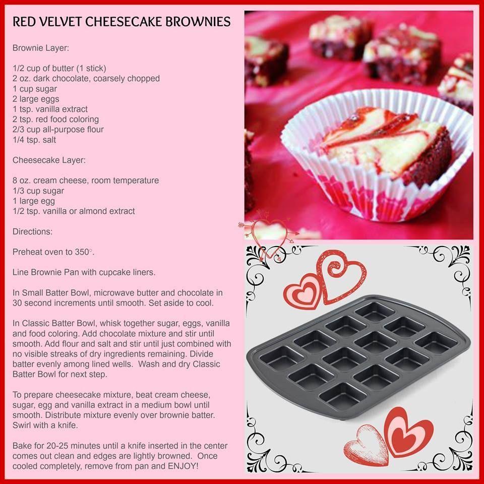 Red Velvet Cheesecake Brownies Pampered Chef S Brownie Pan Is