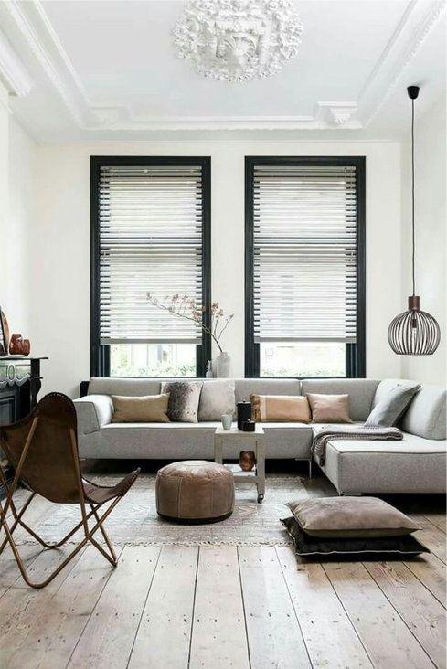 Leren vlinderstoel met grijze hoekbank   Interiors, Living rooms and ...