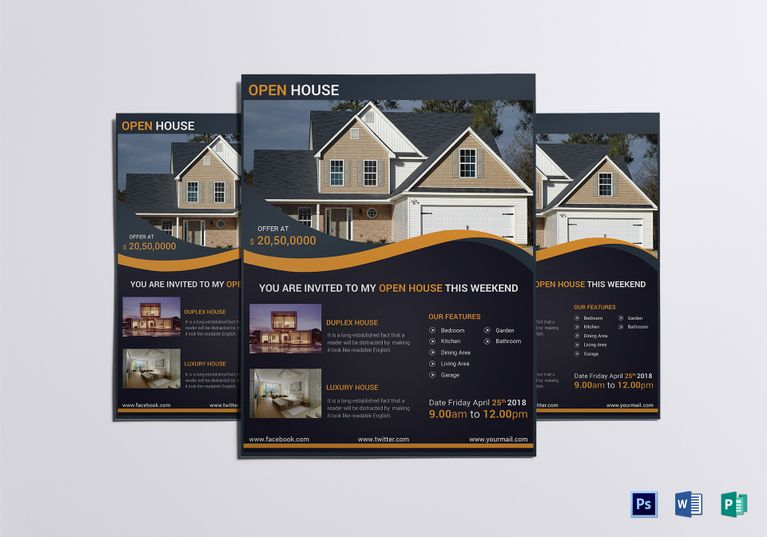 Luxury Open House Flyer Template Open house, Flyer template and