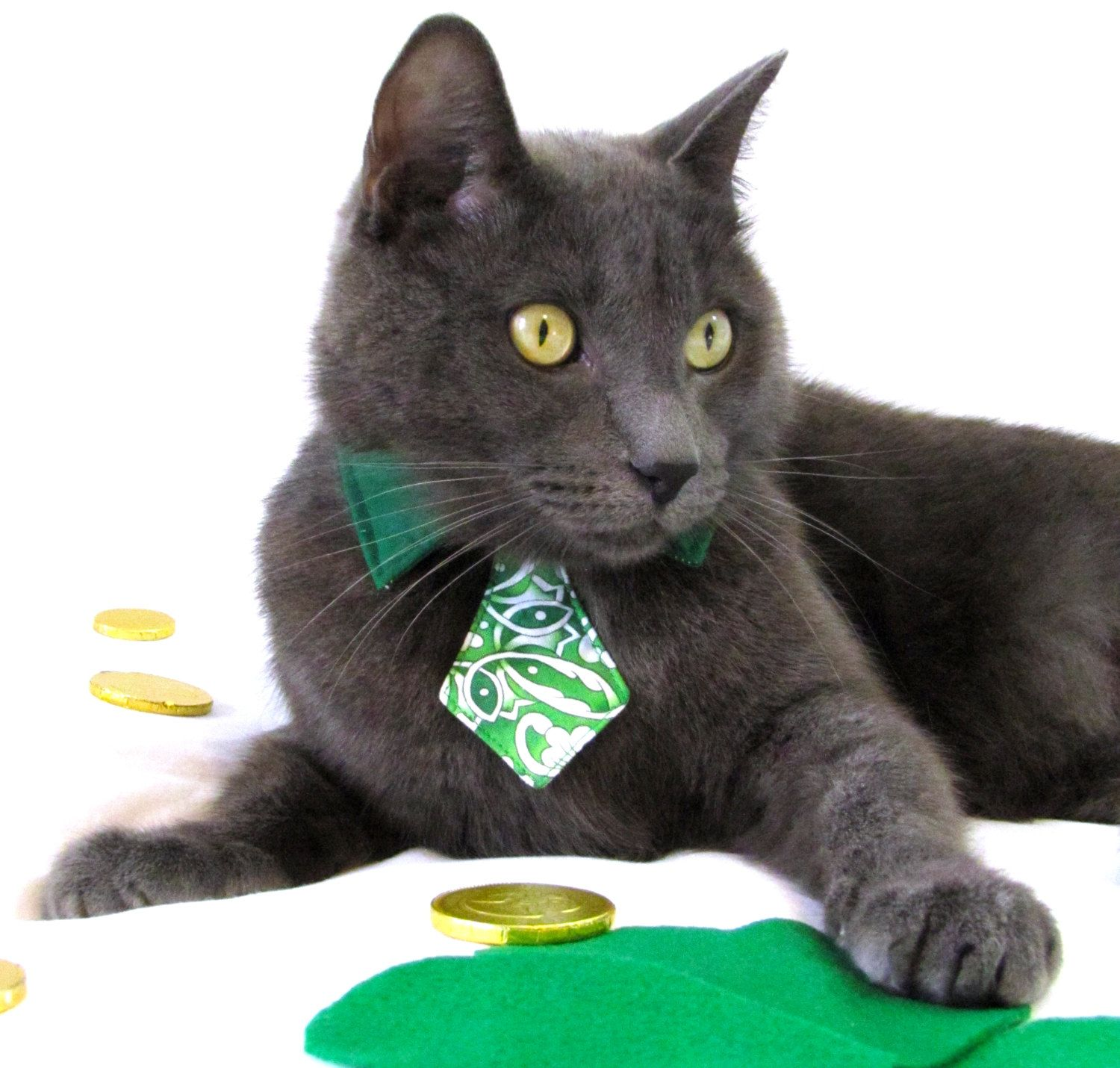 Extra small dog/cat green Celtic necktie with green collar. $10.00, via Etsy.