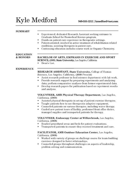 Graduate School Resume Examples Sample Graduate School Application