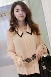 contrast medium double collar sheer blouse  CODE: VNM2988  Price: SG $76.10(US $61.37)