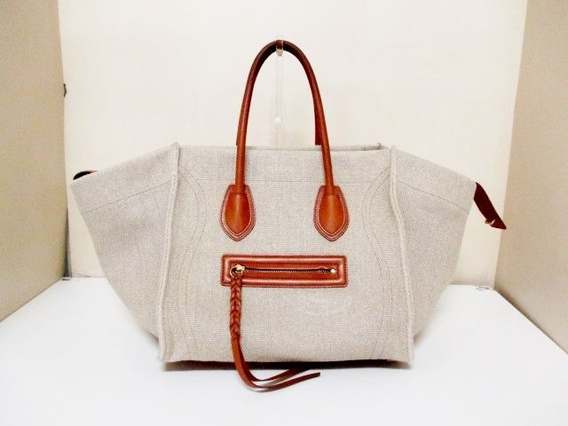 ba322f997842 Authentic CELINE Beige Dark Brown Luggage Small Square Phantom Hemp Tote Bag