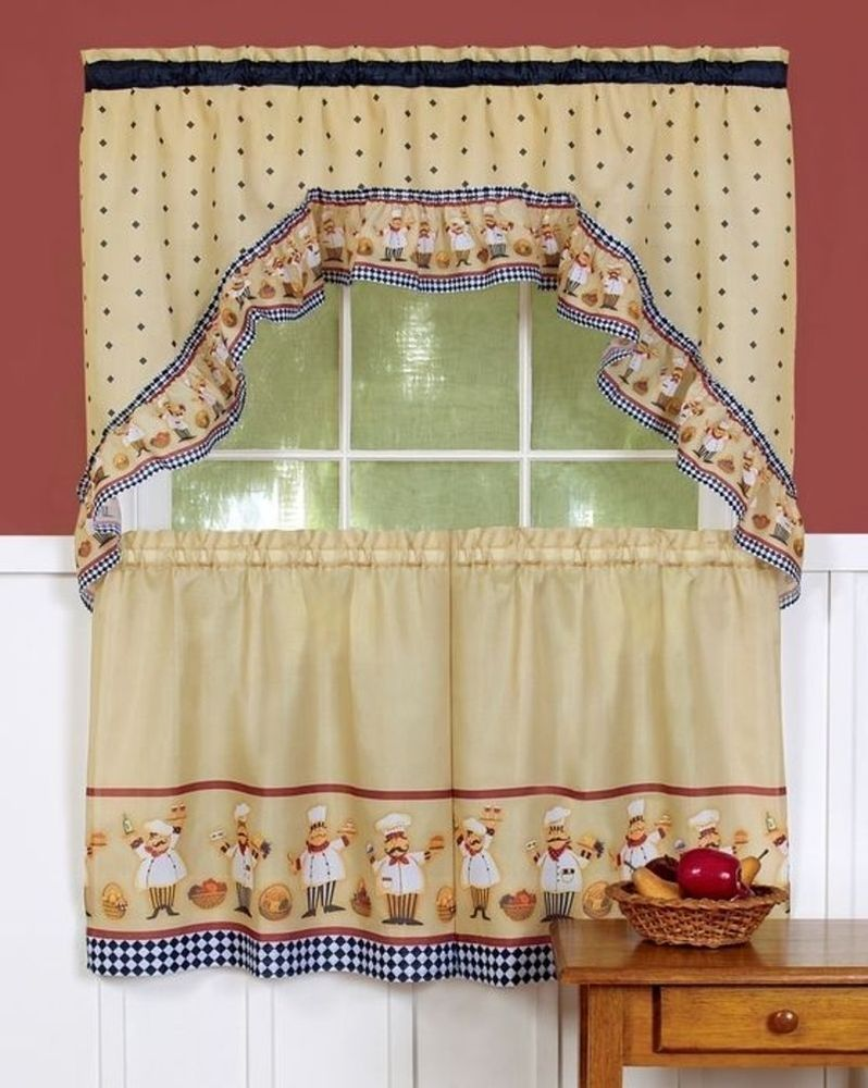 3 Pc FAT ITALIAN/FRENCH CHEF PRINTED TIERS & SWAG CURTAIN SET 57X30 ...